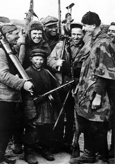 1943 - Soviet partisans after a successful attack on German units.