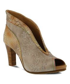 Take a look at this Beige Adrina Leather Bootie today!
