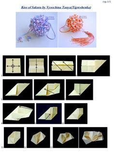 KISS OF SAKURA©TANYA VYSOCHINA Origami Paper Art, Diy Origami, Origami Tutorial, Origami Ideas, Origami Modular, Paper Ornaments, Paper Snowflakes, Napkin Folding, Paper Decorations