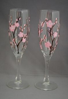 Items similar to Cherry Blossom Painted Flutes on Etsy – etsy Wine Glass Crafts, Wine Craft, Bottle Crafts, Decorated Wine Glasses, Hand Painted Wine Glasses, Wine Bottle Glasses, Champagne Glasses, Wedding Glasses, Bottle Painting