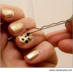 Use a bobby pin to make polka dots on your nails