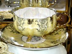 Royal Halsey China 3 FOOTED YELLOW IRIDESCENT & GOLD Tea Cup and Saucer | eBay