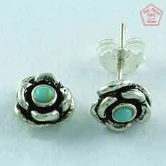 EXCLUSIVE FLOWER DESIGN 925 STERLING SILVER TURQUOISE STUDS JEWELRY ST3175…