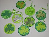 Simple shamrock ornaments made to decorate the senior center for St. Patrick's Day.