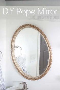 DIY Rope Bathroom Mirror Tutorial #nautical #bathroom SouthernRevivals.com