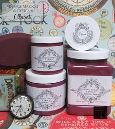 Vintage Market And Design Furniture Paint - A Chalk Based Paint Dark wine red with a hint of purple. *Note: Photos are our actual jars of paint and painted wooden blocks but due to different computer/