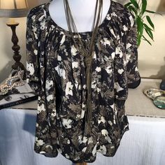 """Elizabeth & James⚜Beautiful Free Flowing Silk Top Elizabeth & James ⚜Gorgeous Free Flowing Olive , Black & Cream colored Artsy Blouse.  Wispy layers of soft Silk with bell sleeves and Split front and Button detail at the neckline!  Pair it with a camisole. 26"""" Length/ 15"""" Full Bell Sleeve Elizabeth and James Tops Blouses"""