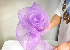 spring floral organza wreath how to make deco mesh and flowers spring wreath Deco Mesh Crafts, Wreath Crafts, Diy Wreath, Flower Crafts, Tule Wreath, Wreath Ideas, Big Flowers, Fabric Flowers, Paper Flowers
