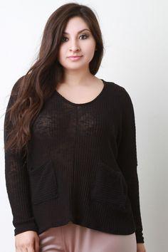 Loose Knit Pocket Long Dolman Sleeves Sweater Top