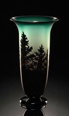 Jade Pine Vase by Bernard Katz, art glass vase hand blown.