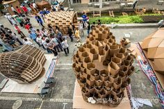 Exhibition of cardboard structures