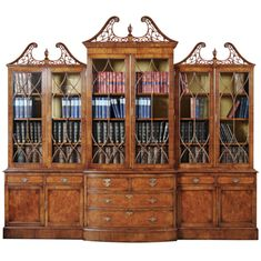Impressive Walnut Bow Front Breakfront Bookcase | From a unique collection of antique and modern bookcases at http://www.1stdibs.com/furniture/storage-case-pieces/bookcases/