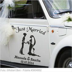 Autoaufkleber Hochzeit - Just Married mit Traumpaar