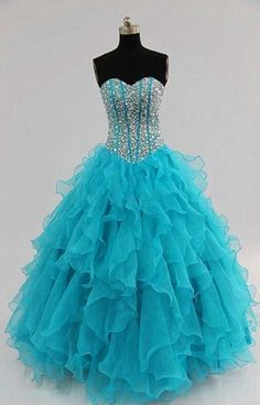 Evening dresses, party dress,turquoise prom dresses,Ball gown prom dresses,long