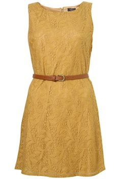 Loving mustard yellow    Belted Lace Dress by Rare** - Sale  - Sale & Offers  - Topshop