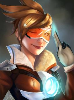 Tracer by Forty-Fathoms.deviantart.com on @DeviantArt - More at https://pinterest.com/supergirlsart/ #overwatch #fanart #portrait