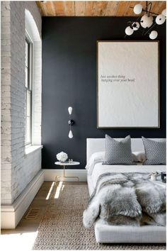 A textured print in a minimalistic room.