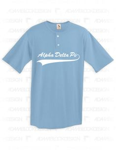 ddb6e683a Alpha Delta Pi - Simple Baseball Tee (Light Blue) - Order now to help us  reach our goal!