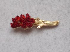 Vintage red rose brooch with gold tone stem marked DMC97 rose bouquet pin rose…