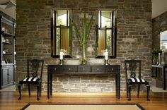 Interior by Josephine Marshall @ one Rundle Trading Co. French provincial meets British Colonial, eclectic contemporary finds amongst antiques. Console table, black and white stripe, mirror, hallway.