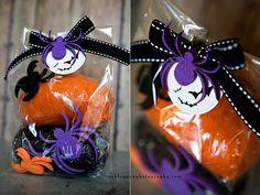 Homeade Halloween playdough. Nice alternative to sugary gifts.