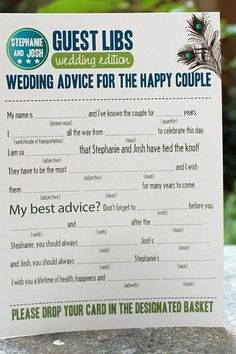In place of a traditional guest book, give friends and family this customized fill-in-the-blank form.