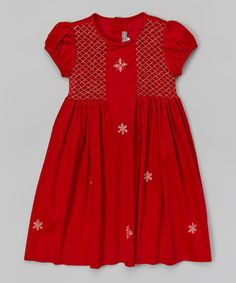 Loving this Red Snowflake Smocked Corduroy Dress - Infant, Toddler & Girls on #zulily! #zulilyfinds