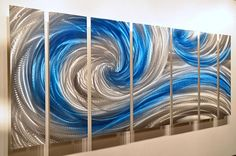 Icy Ocean Dance 66 x 24 blue silver abstract metal art sculpture shiny classy modern wall decor painting by Lubo
