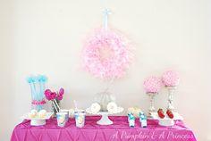 Adorable Cinderella Party from Pumpkin & a Princess - Love the setup! #DisneyPrincessWMT