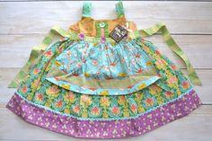 NWT MATILDA JANE FUNNEL CAKE KNOT EASTER APRON DRESS GIRLS SIZE 4 #MatildaJane #DressyEveryday