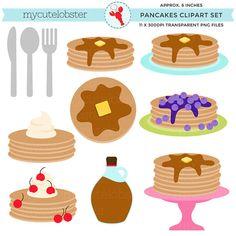 Pancakes Clipart  clip art set pancakes by mycutelobsterdesigns