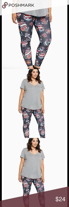 PLUS SZ 1x 2X 3 x  Torrid Tattoo Print Leggings Full Length.  Love the look of tattoos but don't want to deal with the lifelong commitment then these are the leggings for you with stretchy black scuba style fits like a second skin with a multi-color sailor-inspired tattoo print. torrid Pants Leggings