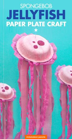 Paper Bowl Craft These jumping jellyfish are so easy to create! They make the perfect decoration for a SpongeBob-themed birthday party. 25th Birthday, 3rd Birthday Parties, Birthday Party Decorations, Birthday Ideas, Themed Parties, Themes For Parties, Prom Themes, 21st Party, Spongebob Crafts