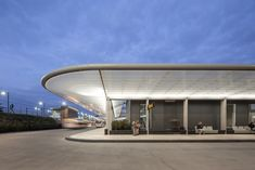 A Bus Station Awning by Day, Solar Powered Lighting