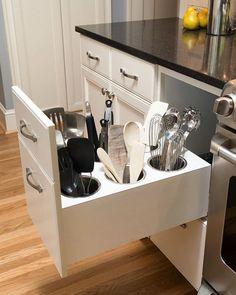 """""""Gavetas falsas"""" que ajudam a organizar a cozinha. Fonte: Site Houzz Foto #aproveitandoespaços"""
