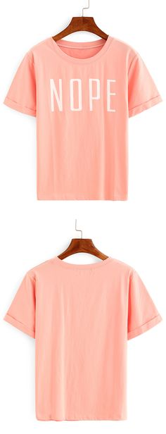 Summer casual style-Pink Letters Print T-shirt. Loose line with cotton material. Good for trip and school. US$7.99.