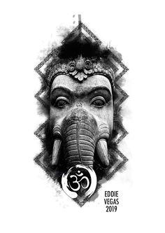 Armband Tattoo Design, Tattoo Designs, Buddha Tattoo Design, Becoming A Tattoo Artist, Ganesha Tattoo, God Tattoos, Blackwork, Indian Folk Art, Hindu Art