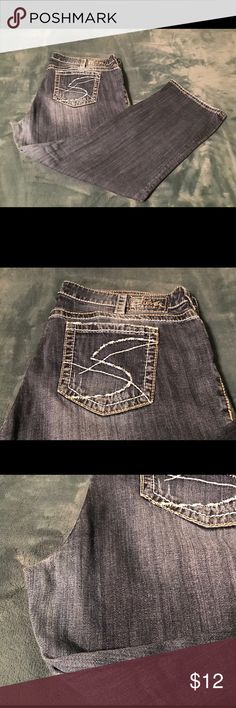 Plus Silver Jeans - Santorini Capri Size 22 - Wearing In Thigh Area (Shown In Photo) - Great Jean Capri With Lots Of Life Left To Give Silver Jeans Jeans Ankle & Cropped