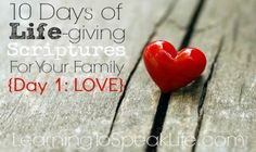 Welcome to day 1, in our series: 10 Days of Life-giving Scriptures For Your Family. The goal of this series is to encourage your family to speak life-giving words to one another -- and stop speakin...