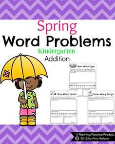Kindergarten Word Problems by Planning Playtime Math Literacy, Homeschool Math, Fun Math, Teaching Math, Maths, Multiplication Songs, Teaching Place Values, Addition Words, Spring Words