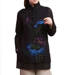 100% Handmade Pure Cotton Blouse Shirt Top - Oriental Chinese Hand Paint Art #105 Interact China. $98.00. 100% handmade in good workmanship standard; Unique pattern available in limited quantity. Original design embossed with fabulous hand painted flowery artwork. Choice of linen or pure cotton for excellent comfort, ensuring natural, light weight, soft and good breathability. Simple elegance with great charm; Stylish blouse in modern vintage Chinese chic