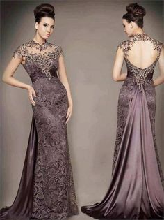 Cheap dress patterns evening gowns, Buy Quality dress handbag directly from China gown glove Suppliers: 2014 Vestidos High Neck Lace Vintage Evening Gowns Mother of Bridal Dresses Open Back