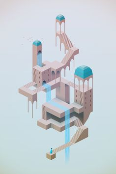 New Isometric Games Art Monument Valley Ideas Isometric Drawing, Isometric Design, Monument Valley Game, Gran Hotel Budapest, Design Club, Intranet Design, Games Design, Level Design, Modelos 3d