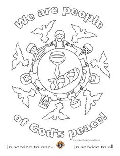 Children Peace Coloring Page Sketch