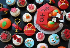 Chinese New Year Cupcakes! - TheCakingGirl.blogspot.com   -  Chinese New Year Cupcakes for my friend's wedding!! :) They had a Chinese New Year themed wedding lol! Super cute :)