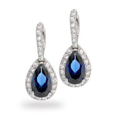 Bling Jewelry CZ Blue Sapphire Color Teardrop Pave Dangle Earrings