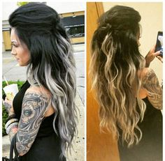 Love the gray ends, but this would kill my hair..so extensions it is