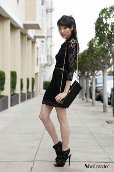 #SheInside Black Vintage Lace Fitted Dress - Sheinside.com