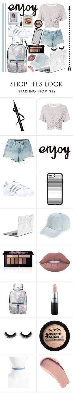 """""""Grey and Denim"""" by lara-fashion22 ❤ liked on Polyvore featuring T By Alexander Wang, adidas Originals, Casetify, Fantasia, Smashbox, Lime Crime, MAC Cosmetics, Polaroid, NYX and Topshop"""
