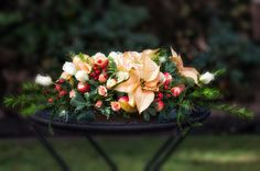 Kari Young Floral Designs Christmas Flowers with Poinsettias